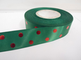 25mm Metallic Polka Dot Satin ribbon, 2 or 20 metres Green with Red spots